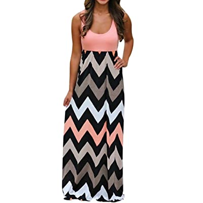 BSGSH Women Scoop Neck Boho Chevron Striped Print Summer Sleeveless Tank Long Maxi Party Beach Dress