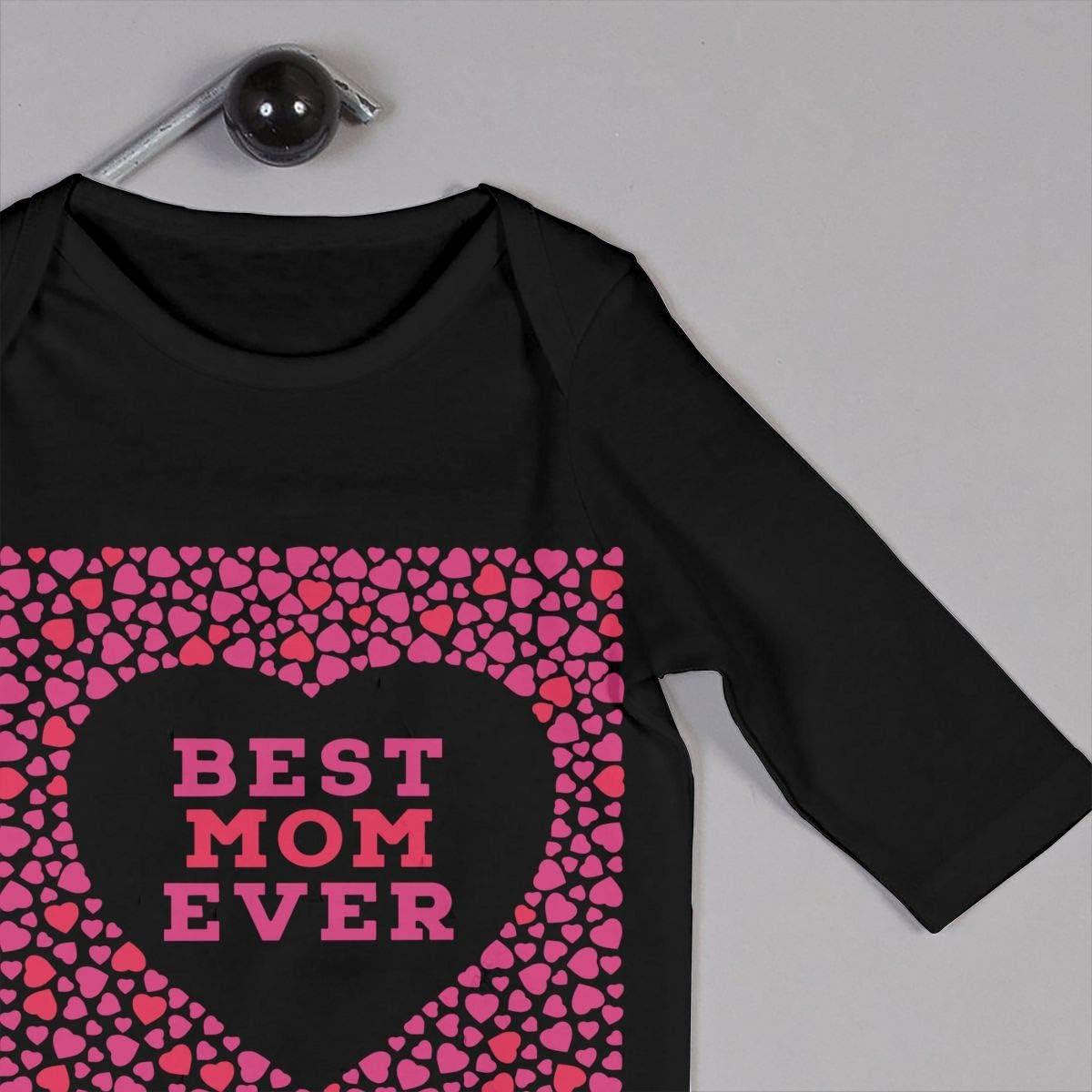 YELTY6F Best Mom Ever Printed Baby Bodysuit Long Sleeve Romper Black