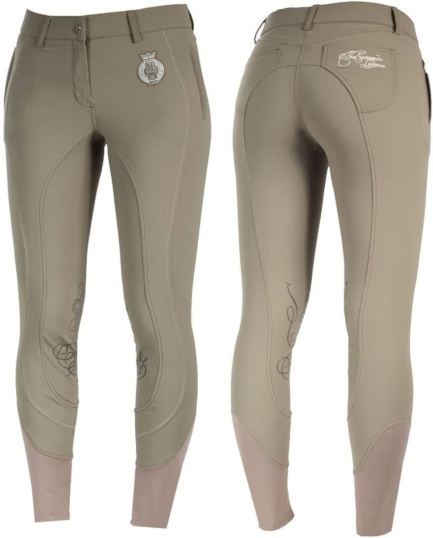 Ladies Horze英語Crescendo Kianaカーキダークタン膝パッチRiding Breeches ( US 33 / EU 44 )