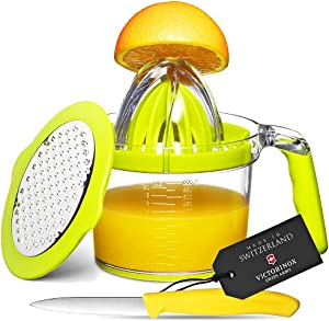 Eurolux 4-in1 Manual Juicer with Victorinox Swiss Made Fruit Knife - Multifunction Orange Lemon Squeezer, Citrus Fruit Juicer with Clear Measuring Cup, 2-Way Grater, Egg Separator, and Silicone Handle