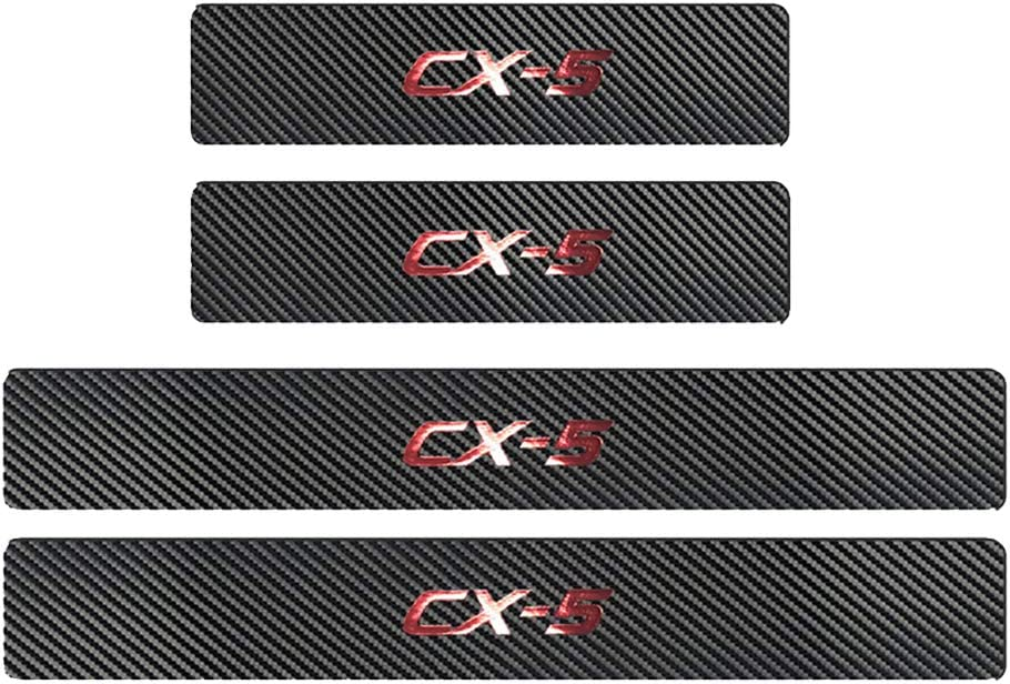 For Mazda CX-5 CX5 2012-2019 Carbon Fiber Leather Hot Stamping Gold FoilCX-5 Car Door Sill Scuff Plate Guard Sills Protector Trim Autoparts Accessories 4PCS(Blue)