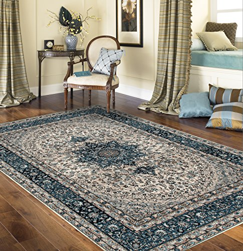 "Traditional Oriental Blue Medallion Design 5'3"" X 7'3"" Area Rug - Soft and Plush to walk on, Perfect for your home, office also Living room, Dining Room, Kitchen,Bedroom,Entrance,Hallway Made in Turkey, 100% Polypropylene Machine made area rug with jute backing. These rugs will naturally resist stains, fading, soil and bacteria making them perfect addition to homes with kids and pets. Brand new, Great value area rug. The high-quality polypropylene pile fiber adds durability and longevity to these rugs, the power loomed construction adds durability to this rug, ensuring it will be a favorite for a long time. - living-room-soft-furnishings, living-room, area-rugs - 61T7PGy0FuL -"