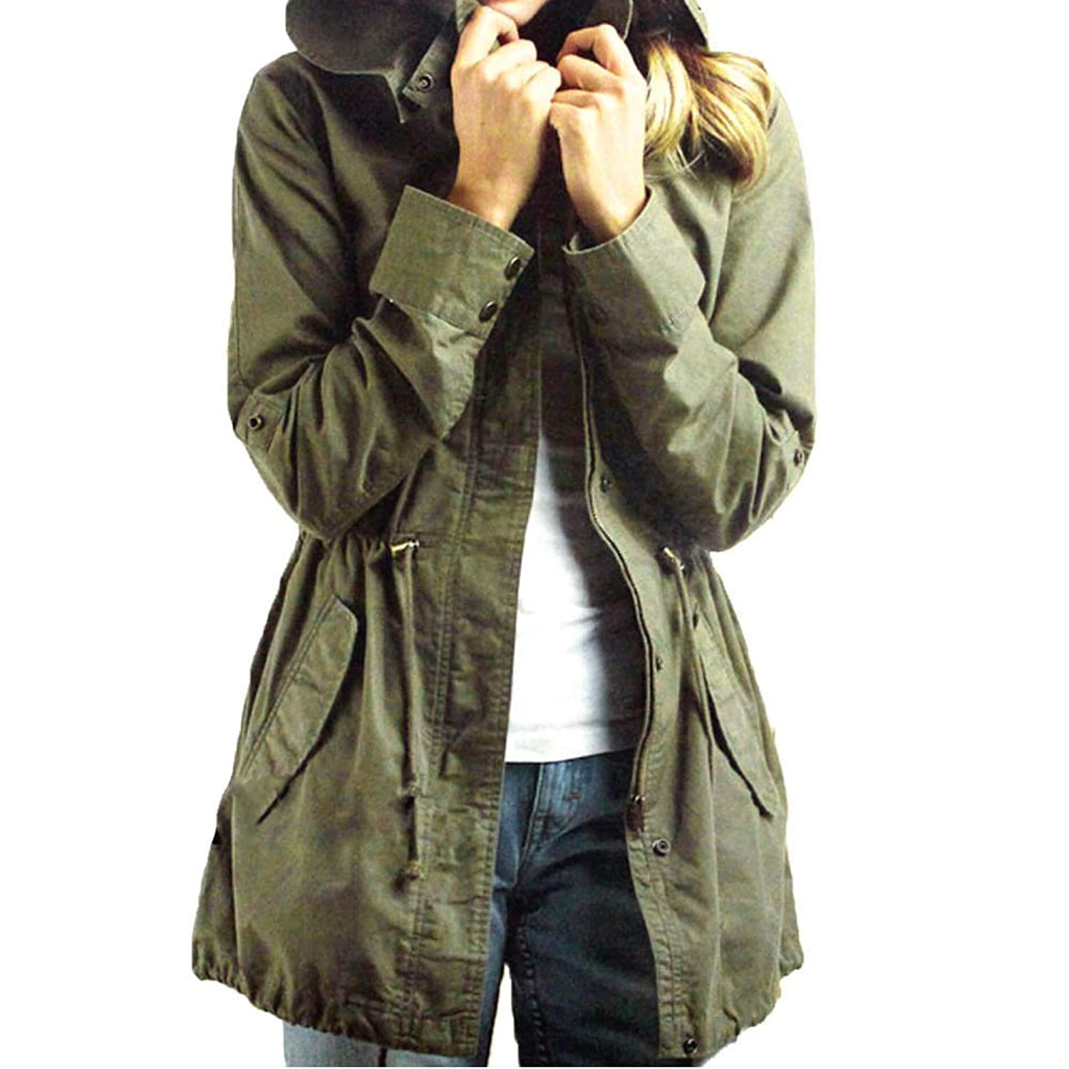 Norbi Womens Hoodie Drawstring Army Green Military Trench Parka ...