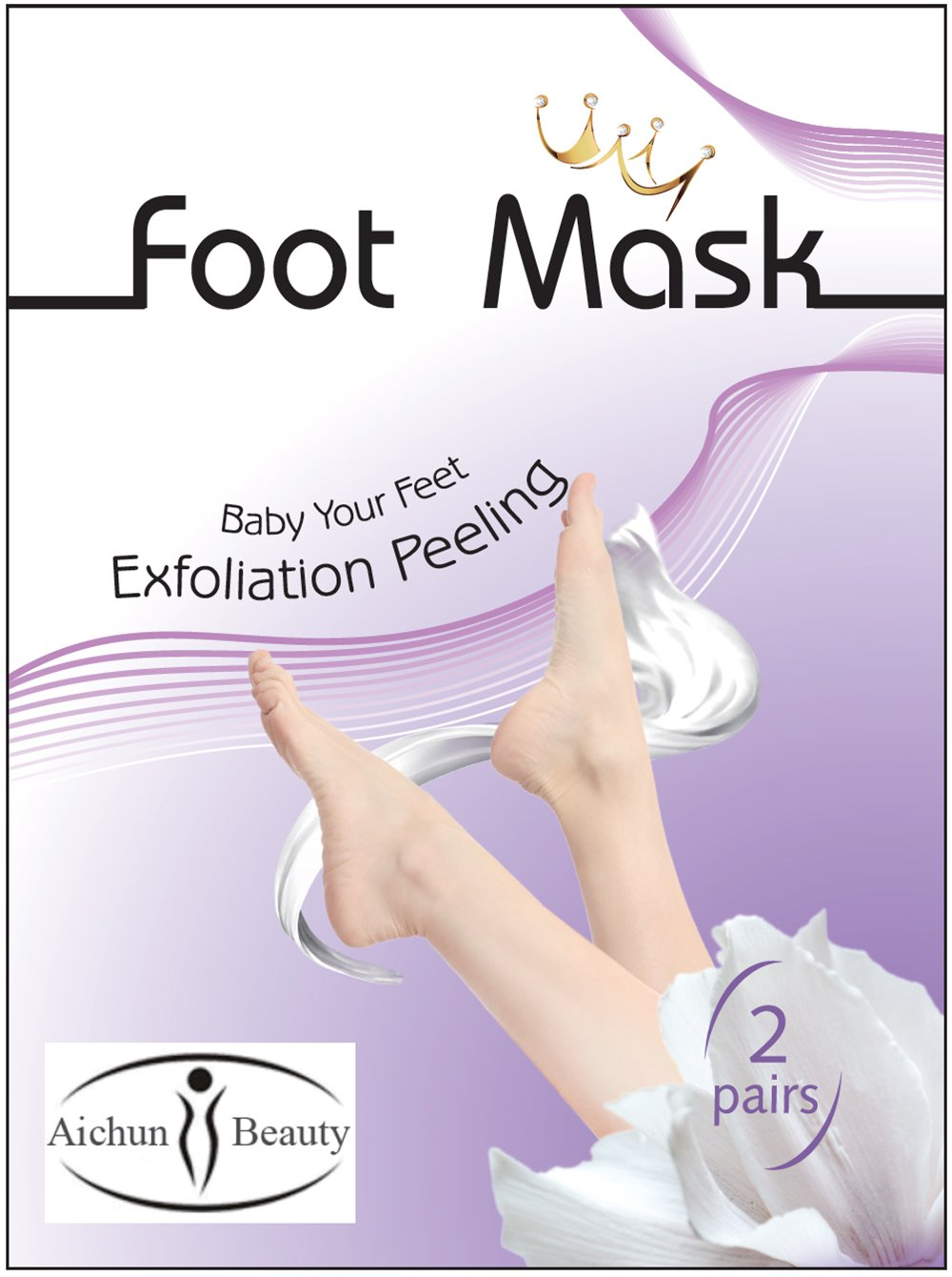 AICHUN BEAUTY Foot Peel Mask 2 Pack, Peeling Away Calluses and Dead Skin cells, Make Your Feet Baby Soft, Exfoliating Foot Mask, Repair Rough Heels, Get Silky Soft Feet (2 PAIR in 1 PACK)