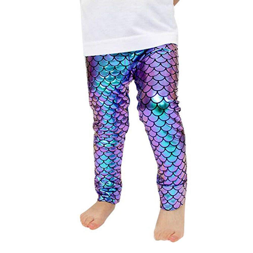 Sikye Kids Baby Girls Clothes Shiny Mermaid Leggings Metallic Fish Stretch Long Tight Pant