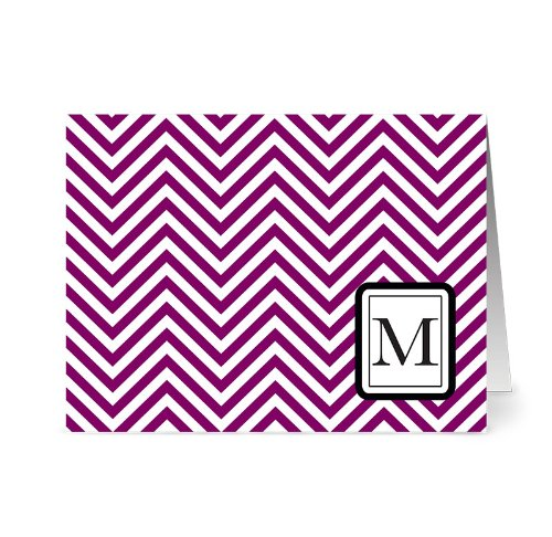 Modern Chevron 'M' Plum Monogram - 24 Cards - Blank Cards w/ Grey Envelopes Included ()