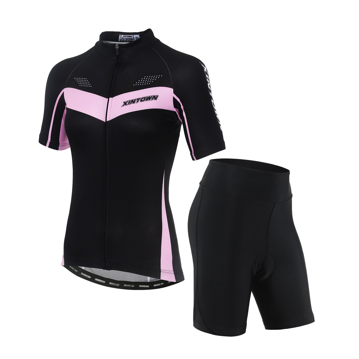 DuShow Women's Short Sleeve Cycling Jersey/Bicycle Top and 3D Padded Shorts Set (M, Pink) by DuShow