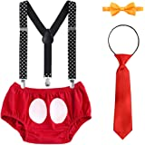 Baby Boys 1st Birthday Cake Smash Outfits Tuxedo Adjustable Y Back Suspenders Bowtie Necktie Bloomers Wedding Photo 4PCS…