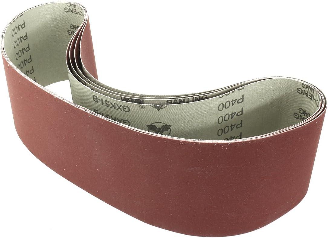 sourcingmap/® 4 pouces x 36 pouces 400 bande grain oxyde aluminium Joint bande abrasive 4 pcs