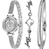 Xinge Women's Crystal-Accented Silver-Tone Bangle Watch and Bracelet Set