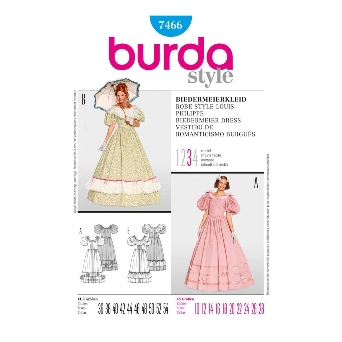 Steampunk Sewing Patterns- Dresses, Coats, Plus Sizes, Men's Patterns OOP Burda Historical Costume Pattern 7466. Misses Szs 10121416182022242628 Civil War Era Dresses $10.46 AT vintagedancer.com