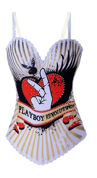 Blanco Playboy motivo temático corsé vasco con los tirantes del sujetador desmontable, hace que la cintura L (38-40), nos fijamos adorable: Amazon.es: Ropa ...