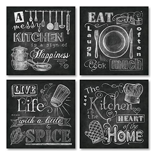 Beautiful Fun ChalkboardStyle Kitchen Signs Messy Kitchen Heart of The Home Spice of Life and Cook Much Four 12x12in Paper Posters Printed on Paper and Made to Look Like Chalkboard