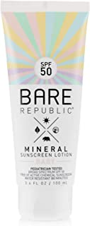 product image for Bare Republic Mineral SPF 50 Baby Sunscreen Lotion. Unscented and Gentle Sunscreen Lotion for Babies 6 Months and Older, 3.4 ounces