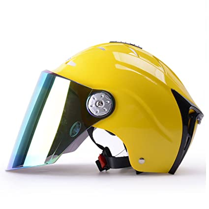 Casco Verano Motocicleta Femenina Protección UV Casco de Seguridad de Bicicleta Ligera Coches Eléctricos Amarillo (