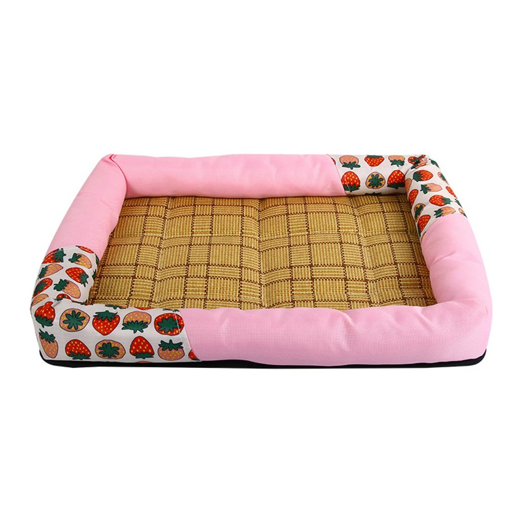 C All-round kennel Dog House Pet bed kennel special summer woven rattan seats mat kennel (bluee middle size) (color   C)