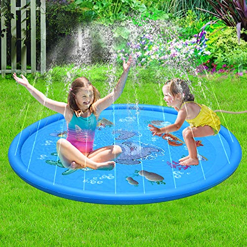 Sprinkle Play Mat Water Play Mat Splash Pad Outside 68IN Inflatable Blow Up Pool Summer Outdoor Water Toys,Wading Pool Sprinkler /& Splash Pad for Kids