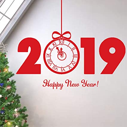 Amazon Com 2019 Happy New Year Wall Stickers Decorations Removable