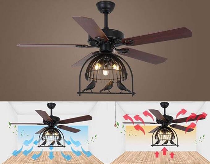 Ventiladores de techo con lámpara luz retro viento industrial hoja ...