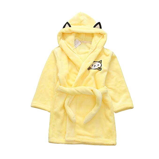 79de61c916 Amazon.com  Kids Bath Robe Velvet Fleece Robe Boys Girls Sleep Robe  Children s Hooded Robe  Clothing