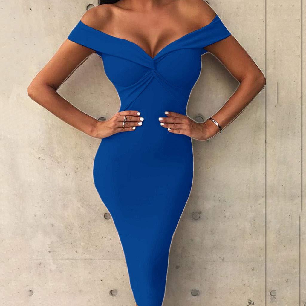 Culater Vestido Vestidos Ajustados Fuera del Hombro Vestido con Cuello En V hasta Las Rodillas Fiesta Clubwear Mujeres: Amazon.es: Ropa y accesorios