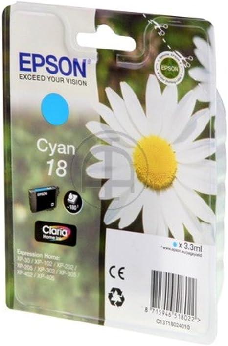 Epson Original Epson Expression Home Xp 406 18 C13t18024010 Tintenpatrone Cyan 180 Seiten 3ml Bürobedarf Schreibwaren