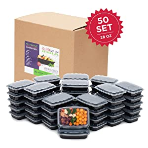 50-Pack Snap-Seal, Microwavable, Dishwasher Safe, Reusable Food Storage Bento Box, Meal Prep Containers (28 oz, BPA Free)