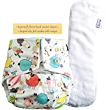 Superbottoms Certified Soft Fleece Lined Pocket Diaper with 1 Wet Free Insert with Snaps, Sheep, One Size