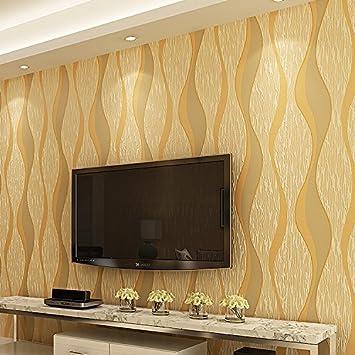 SDKKY Einfache Und Moderne Vliesstoff Stereoanlage Schlafzimmer TV  Hintergrund Wand Streifen Tapete, Goldgelb, 0