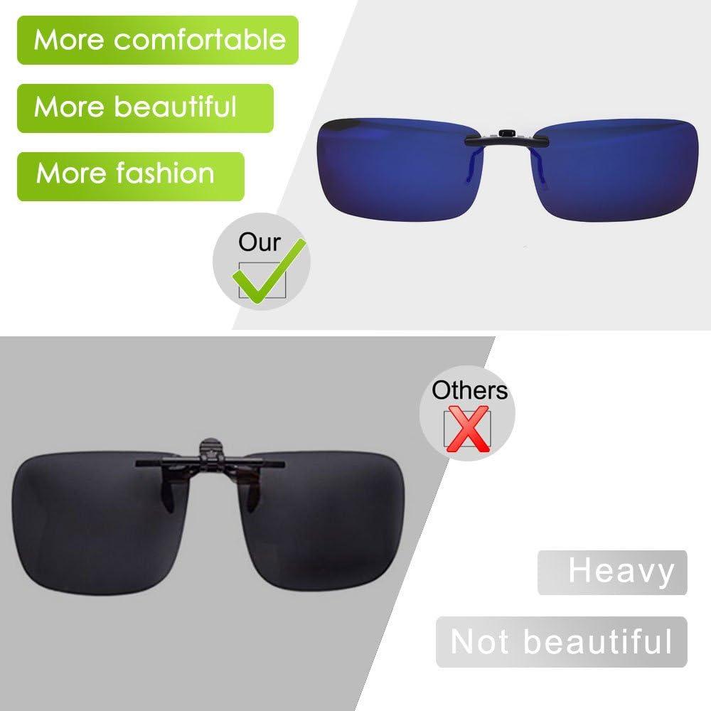 TERAISE Polarized Clip-on Sunglasses Over Prescription Glasses Anti-Glare UV400 for Men Women Driving Travelling Outdoor Sport