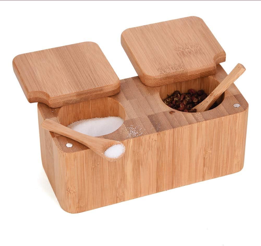 竹製回転式塩コショウ スパイスボックス 磁気蓋付き容器