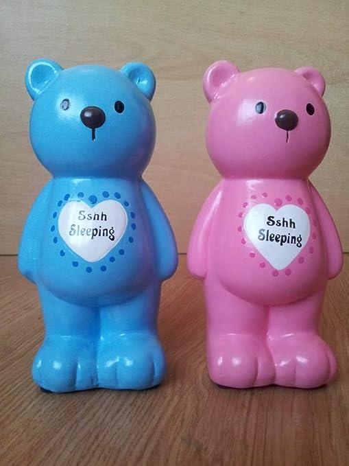 Hucha de oso o caja de almacenaje con mensaje en inglés sus encantos - azul sshhh