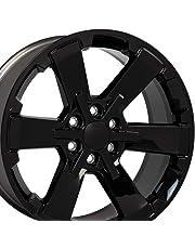 OE Wheels 22 Inch Fits Chevy Silverado Tahoe GMC Sierra Yukon Cadillac Escalade Silverado Rally Edition Flow Formed CV41 22x9 Rim CK162 Gloss Black Hollander 5662