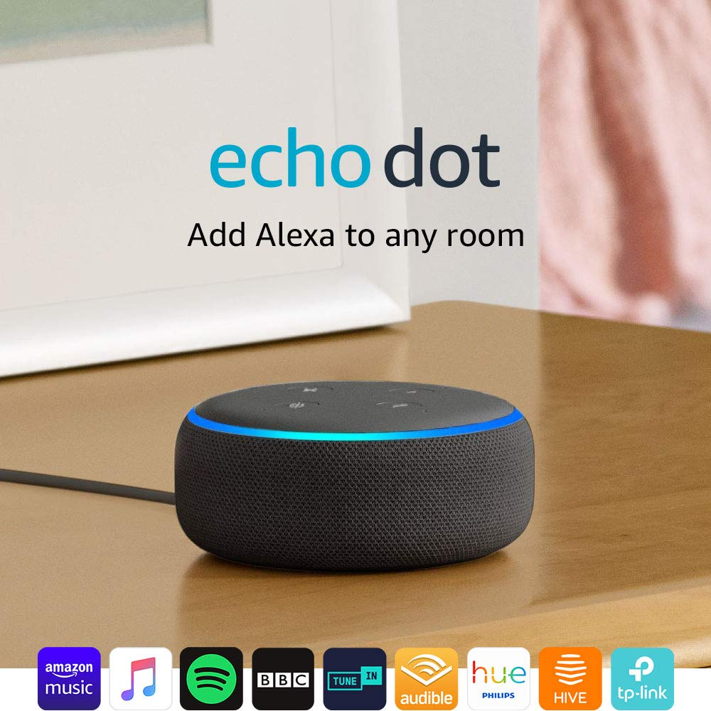 Echo Dot (3rd Gen) - Smart speaker with Alexa - Charcoal Fabric New Black Friday Deals just for You
