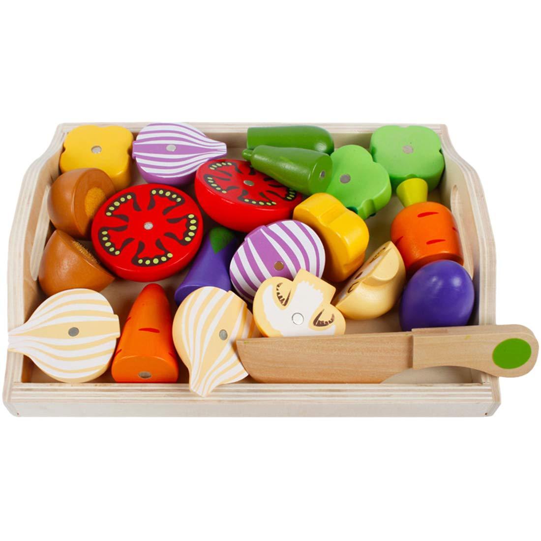 Morginy 11 Piezas Magn/ético De Madera Frutas y Vegetales Juguete Juegos de Juguetes de Cocina para Ni/ños
