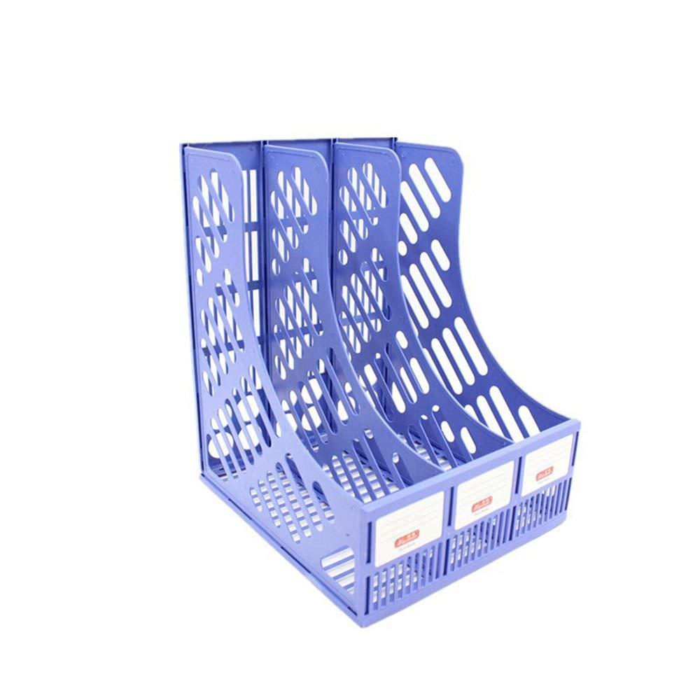 LQQFF Suministros de Oficina Soporte estantería de Archivos Triple estantería Soporte de plástico de Escritorio de gestión de Datos (Color : Negro) 5d4eb6
