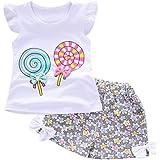2018 Bambini Abiti Ragazza Per Bambini Bambino Baby Girls Abiti Lolly T-Shirt Top + Pantaloni Corti Vestiti Set Abbi abbigliamento 12 18 mesi Morwind