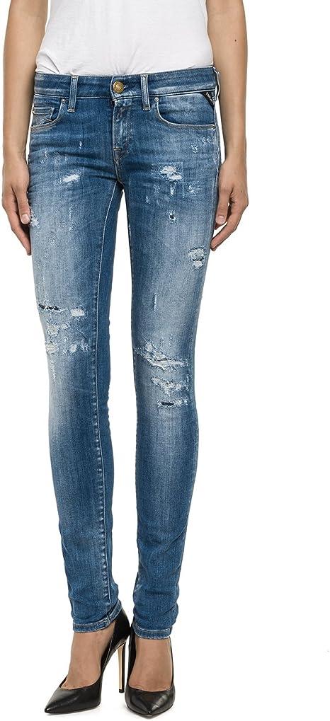 Replay Jeans Rose Blau Damen Bekleidung Slim Fit