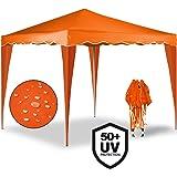 Tonnelle tente de jardin 3x3 m pavillon réception pliable orange + Sac de transport