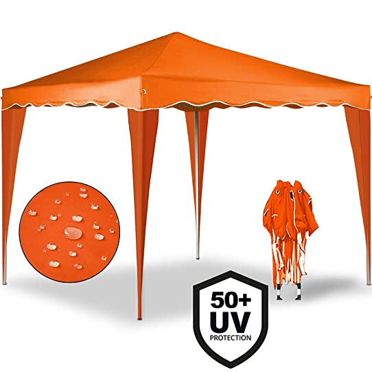 Tonnelle tente de jardin 3x3 m pavillon réception pliable orange + ...