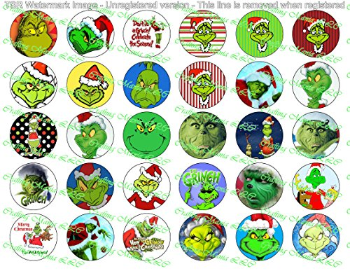 30 Precut Bottle Cap Images The Grinch Set 1 (Grinch Stickers)