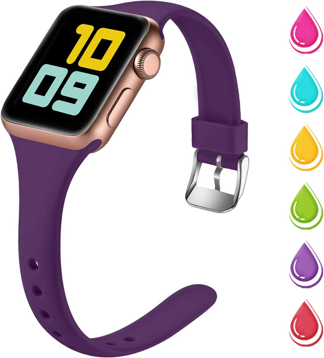 Nofeda Slim Band Compatible with Apple Watch 40mm 38mm, Narrow Thin Soft Silicone Sport Bands Replacement Strap for iWatch Series 5 4 3 2 1 Women Men, S/M, Plum