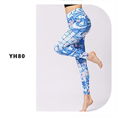 f7c599d9cd Amazon.com: Yoga Pants Printed Dry Fit Sport Elastic Fitness Gym Tight  Leggings Women Slim High Waist Tights: Clothing