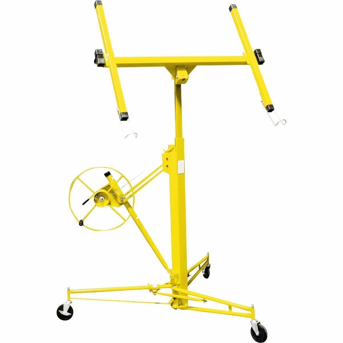 GHP Yellow 150Lbs Max Load Rolling Drywall Lifter Panel Hoist Jack with 4'' Casters