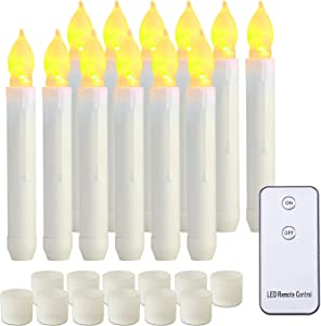 Homemory LED Batteries Operated Taper Candles with Remote, Flickering Light Flameless Taper Window Candles, Set of 12 Warm Yellow Fake Candles for Halloween, Church, Party