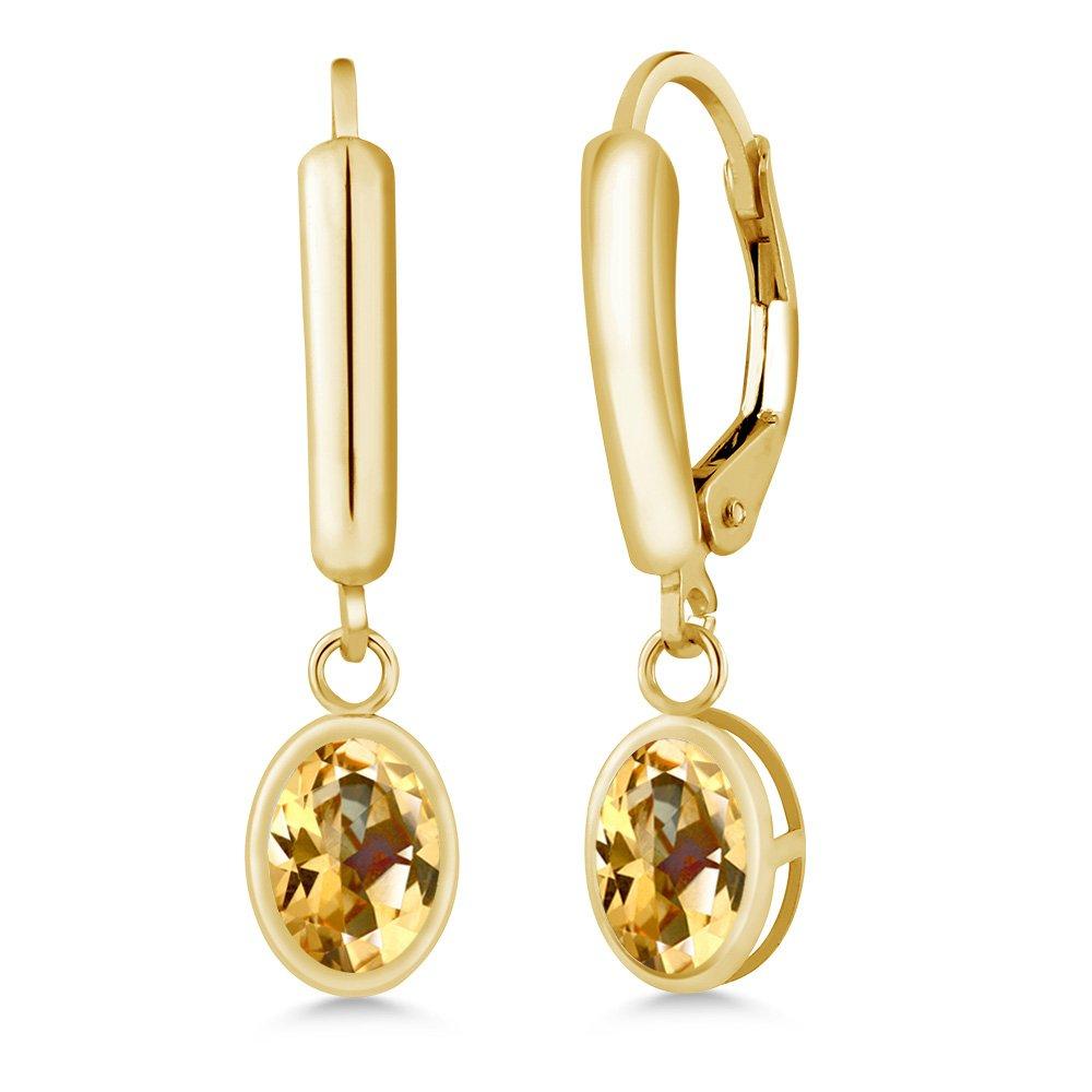 14K Yellow Gold Earrings Set with Oval Honey Topaz from Swarovski