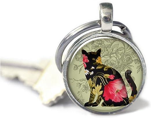 Llavero negro con diseño de gato Calico, llavero de resina, regalo para amante de los gatos, llavero de joyería para gatos: Amazon.es: Hogar