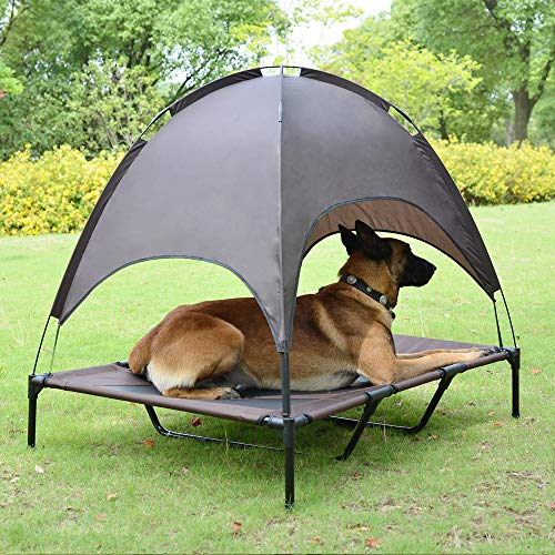 Niubya 48 Inches XLarge Elevated Dog Cot with Canopy, Durable 1680D Oxford Fabric Pet Bed for Indoor and Outdoor Use, Brown