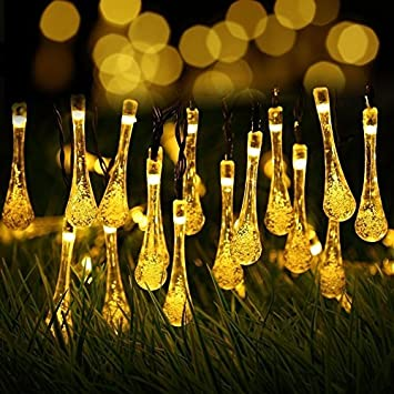 Amazon outside string lights weatherproof 20 ft 30 crystal water outside string lights weatherproof 20 ft 30 crystal water drop 8 modes led solar christmas lights mozeypictures Choice Image
