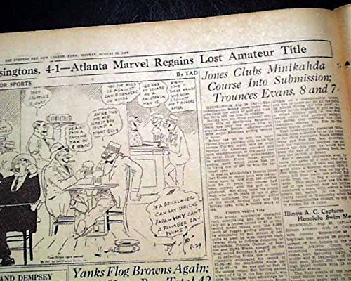 BOBBY JONES Wins U.S. Amateur GOLF Title at The Minikahda Club 1927 Newspaper THE DAY, New London, Connecticut, August 29, 1927